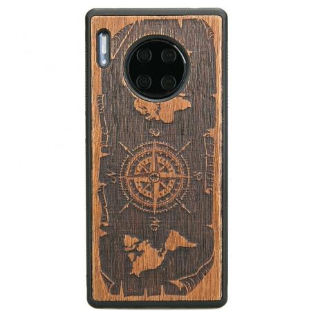Drewniane Etui Huawei Mate 30 Pro RÓŻA WIATRÓW MERBAU