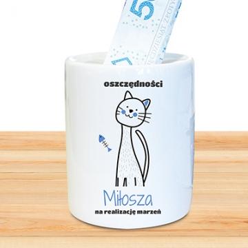 Skarbonka dla najmłodszych z kotem (personalizowana)