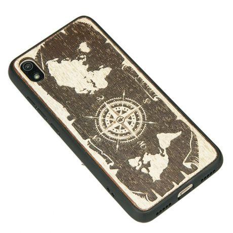 Drewniane Etui Xiaomi Redmi 7A RÓŻA WIATRÓW MERBAU BIELONA