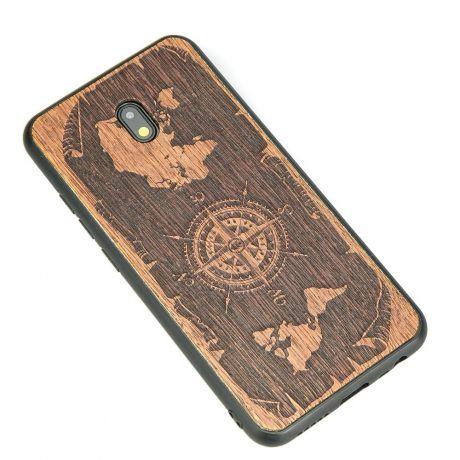 Drewniane Etui Xiaomi Redmi 8A RÓŻA WIATRÓW MERBAU