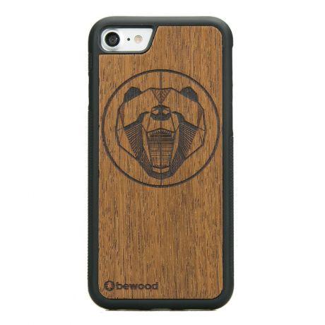Drewniane Etui iPhone SE 2020 NIEDŹWIEDŹ MERBAU