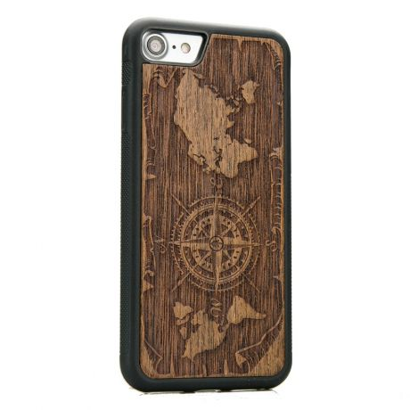 Drewniane Etui iPhone SE 2020 RÓŻA WIATRÓW MERBAU