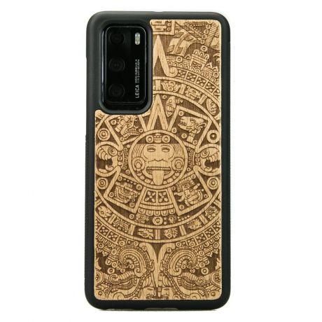 Drewniane Etui Huawei P40 KALENDARZ AZTECKI ANIEGRE