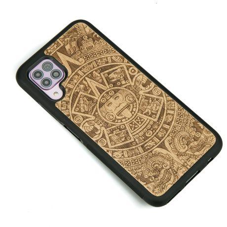 Drewniane Etui Huawei P40 Lite KALENDARZ AZTECKI ANIEGRE
