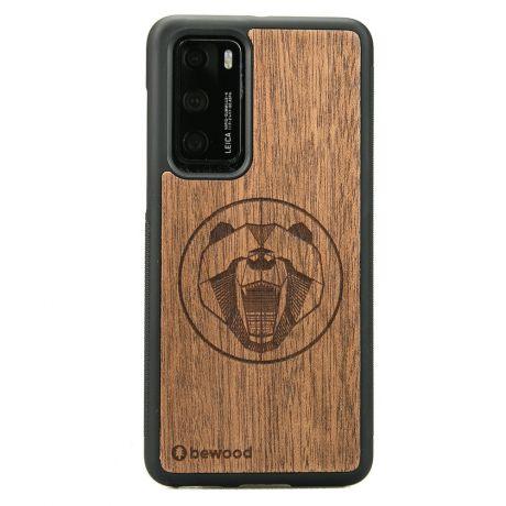 Drewniane Etui Huawei P40 NIEDŹWIEDŹ MERBAU