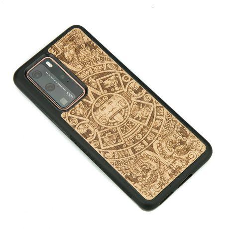 Drewniane Etui Huawei P40 Pro KALENDARZ AZTECKI ANIEGRE