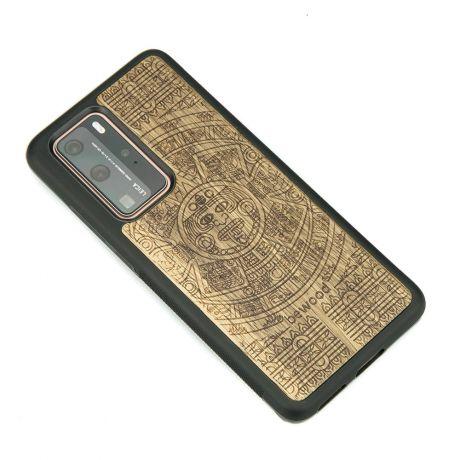 Drewniane Etui Huawei P40 Pro KALENDARZ AZTECKI LIMBA