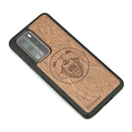 Drewniane Etui Huawei P40 Pro NIEDŹWIEDŹ MERBAU