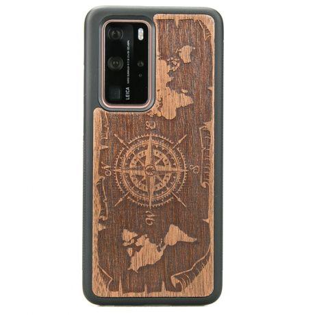 Drewniane Etui Huawei P40 Pro RÓŻA WIATRÓW MERBAU