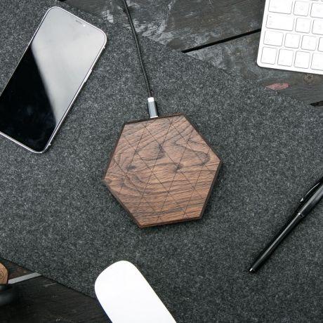 Ładowarka indukcyjna Bewood Slim Hexagon QI 15W Orzech