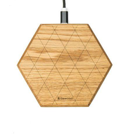 Ładowarka indukcyjna Bewood Slim Hexagon QI 15W Dąb