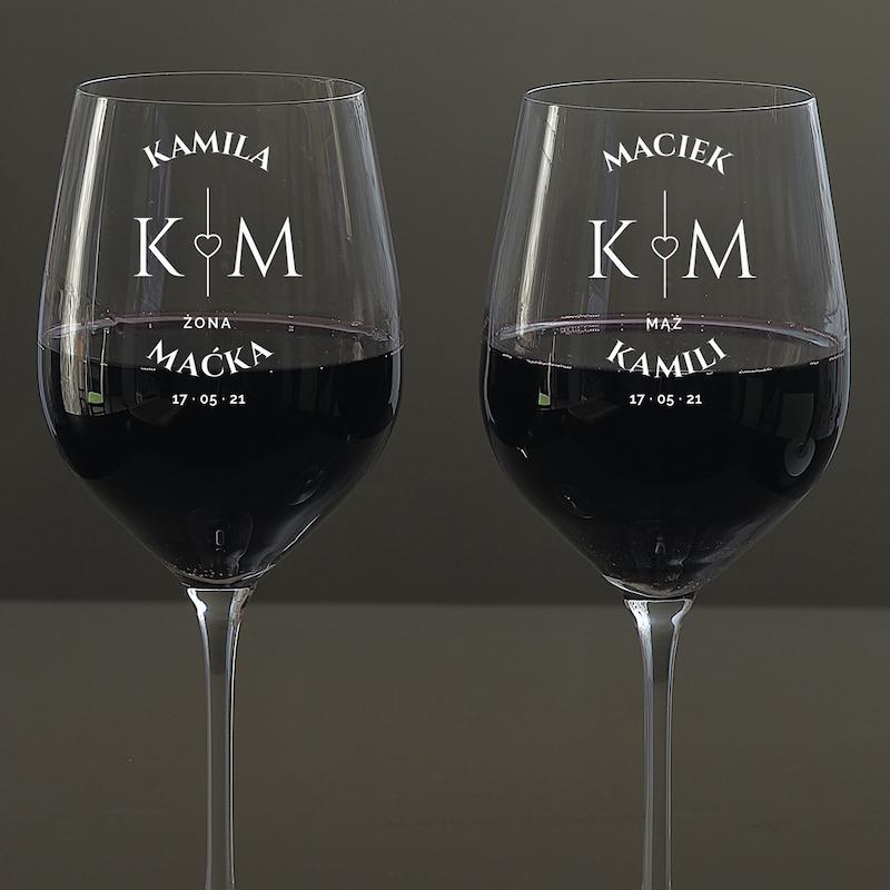 Kieliszki do wina mąż żona