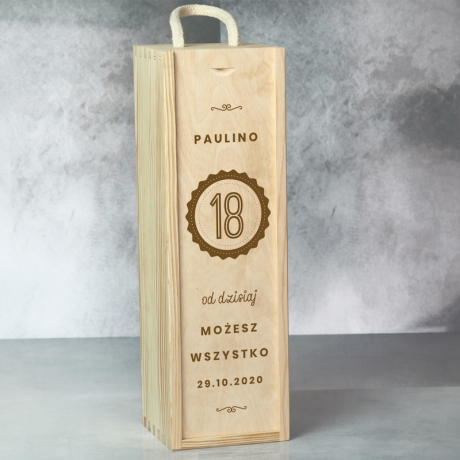 Skrzynka na wino na 18 urodziny