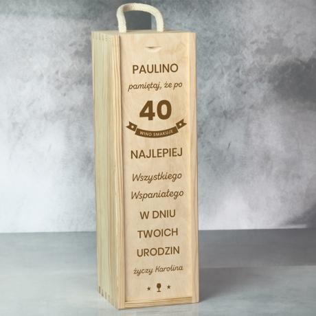 Skrzynka na wino 40 urodziny