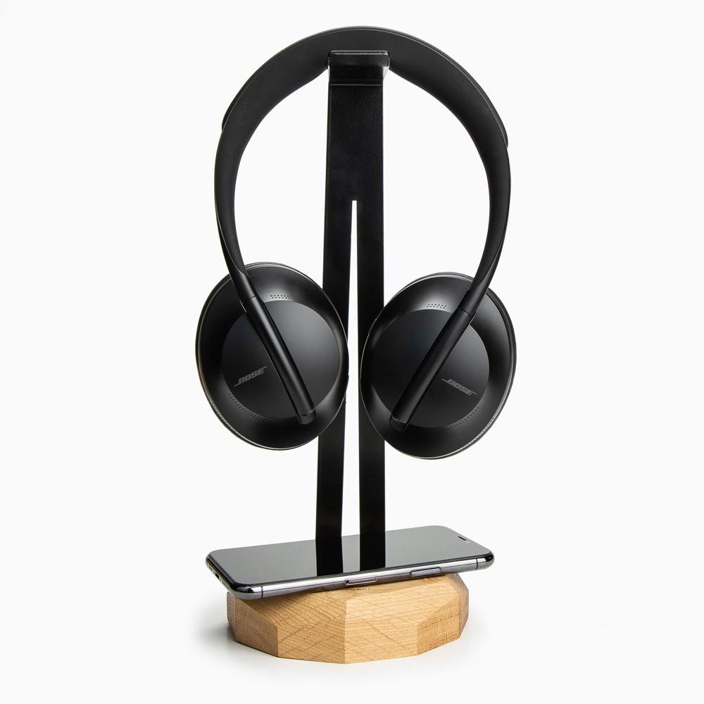 Stojak na słuchawki z Ładowarką QI 15W Dąb