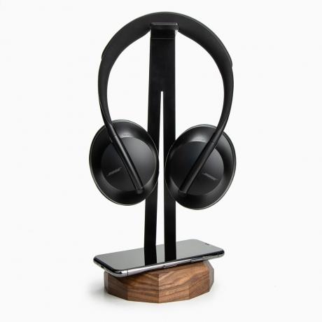 Stojak na słuchawki z Ładowarką QI 15W Orzech
