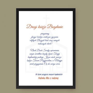 Plakat z dedykacją dla Księdza