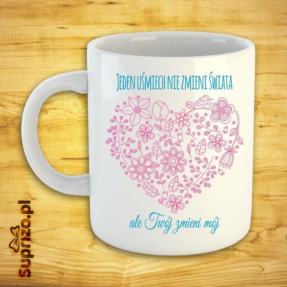 Kubek dla romantyka z sercem i sloganem miłosnym