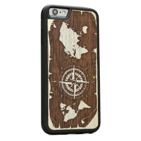 Drewniane Etui iPhone 6 Plus / 6s Plus RÓŻA WIATRÓW MERBAU BIELONA