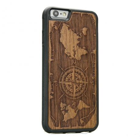 Drewniane Etui iPhone 6/6s RÓŻA WIATRÓW MERBAU