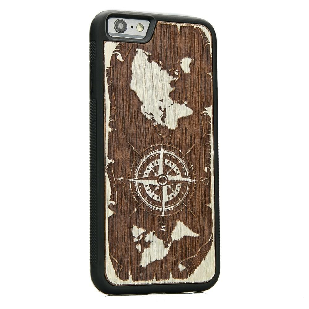 Drewniane Etui iPhone 6/6s RÓŻA WIATRÓW MERBAU BIELONA