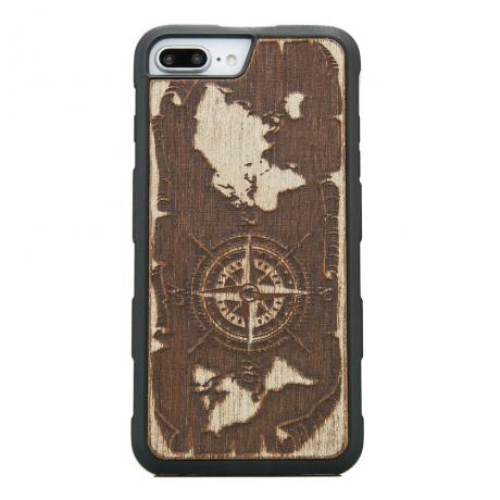 Drewniane Etui iPhone 6/6s/7/8 Plus RÓŻA WIATRÓW MERBAU BIELONA HEAVY