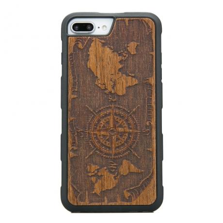 Drewniane Etui iPhone 6/6s/7/8 Plus RÓŻA WIATRÓW MERBAU HEAVY