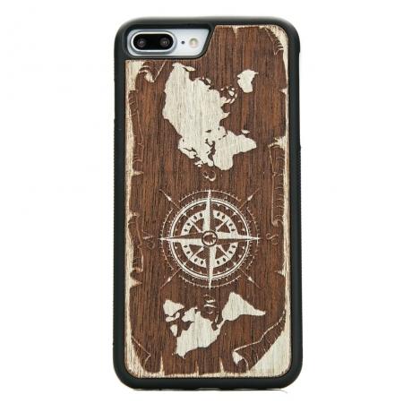 Drewniane Etui iPhone 7 Plus / 8 Plus RÓŻA WIATRÓW MERBAU BIELONA