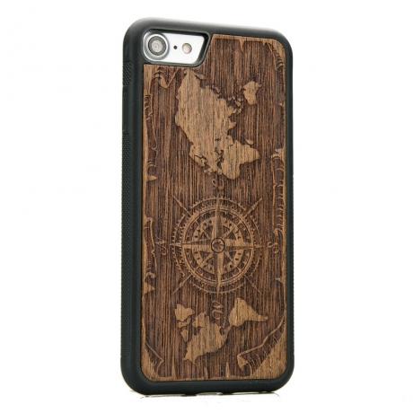 Drewniane Etui iPhone 7/8 RÓŻA WIATRÓW MERBAU