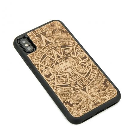 Drewniane Etui iPhone X/XS KALENDARZ AZTECKI ANIEGRE