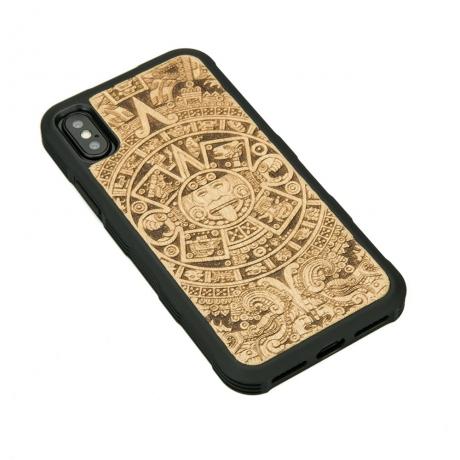 Drewniane Etui iPhone X/XS KALENDARZ AZTECKI ANIEGRE HEAVY