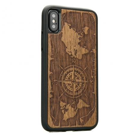 Drewniane Etui iPhone X/XS RÓŻA WIATRÓW MERBAU