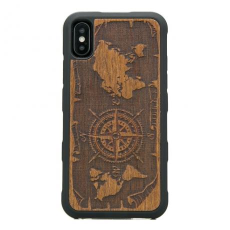 Drewniane Etui iPhone X/XS RÓŻA WIATRÓW MERBAU HEAVY