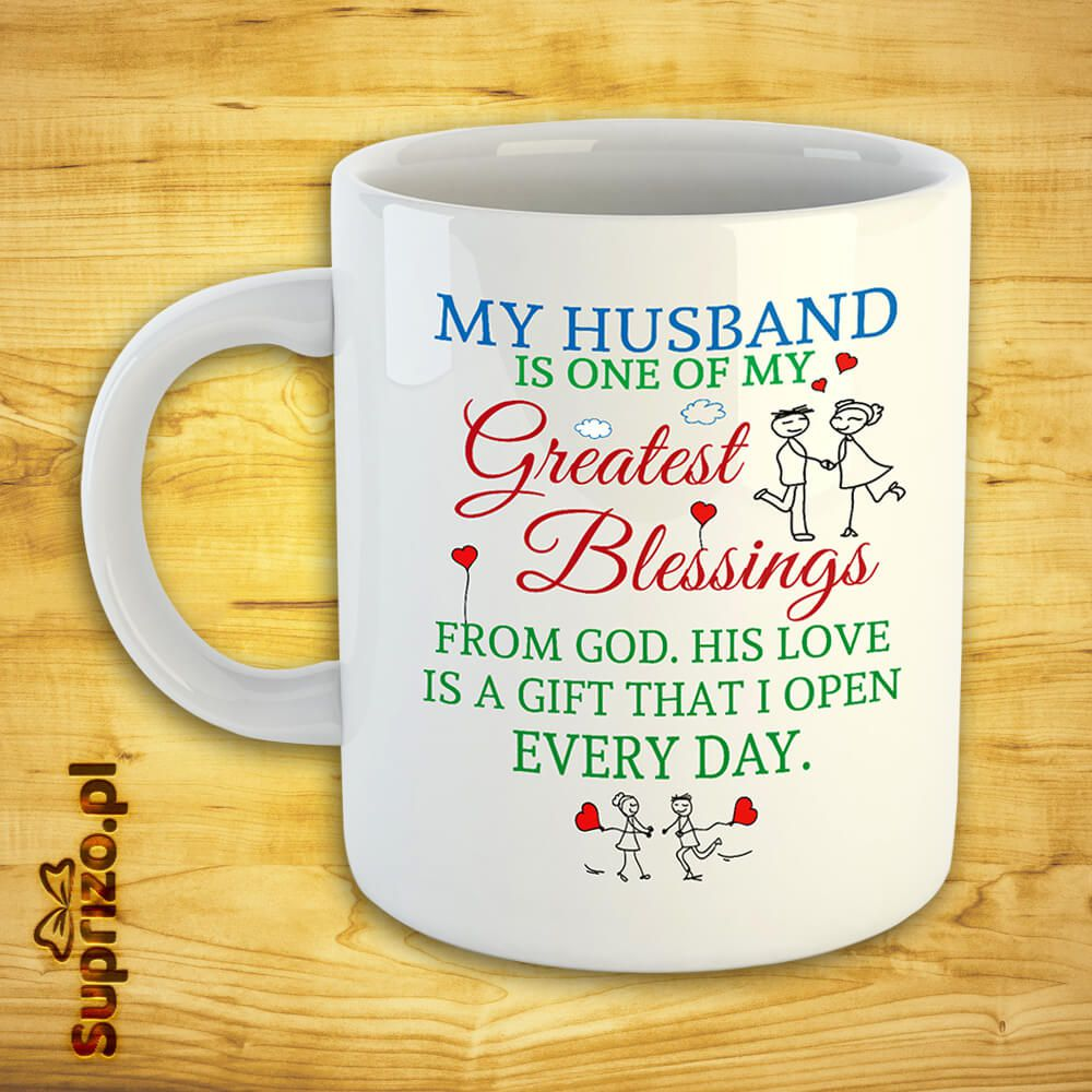Biały kubek z napisem dla męża