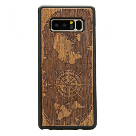 Drewniane Etui Samsung Galaxy Note 8 RÓŻA WIATRÓW MERBAU