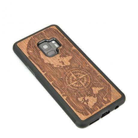 Drewniane Etui Samsung Galaxy S9 RÓŻA WIATRÓW MERBAU