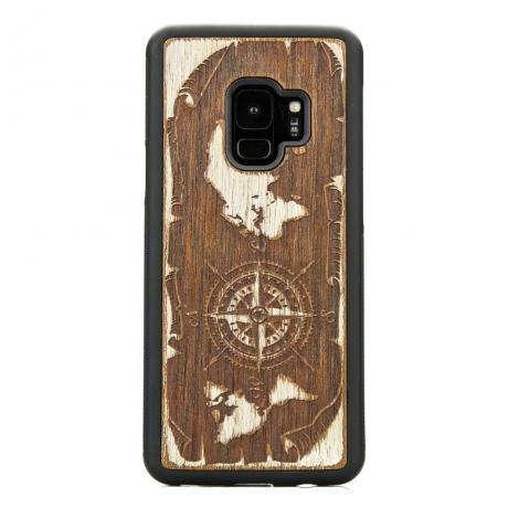 Drewniane Etui Samsung Galaxy S9 RÓŻA WIATRÓW MERBAU BIELONA