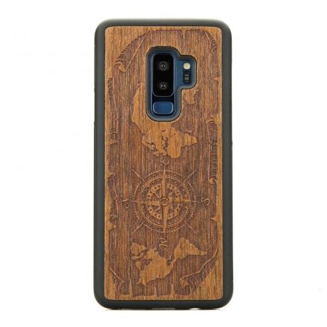Drewniane Etui Samsung Galaxy S9+ RÓŻA WIATRÓW MERBAU