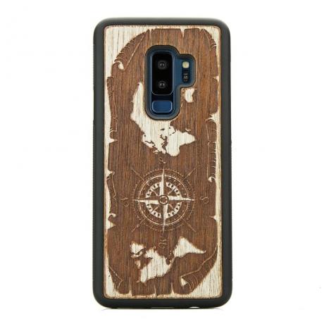 Drewniane Etui Samsung Galaxy S9+ RÓŻA WIATRÓW MERBAU BIELONA