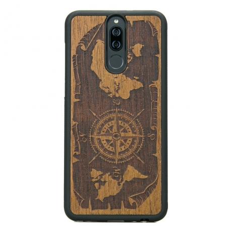 Drewniane Etui Huawei Mate 10 Lite RÓŻA WIATRÓW MERBAU
