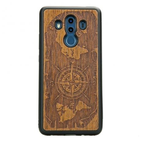 Drewniane Etui Huawei Mate 10 Pro RÓŻA WIATRÓW MERBAU