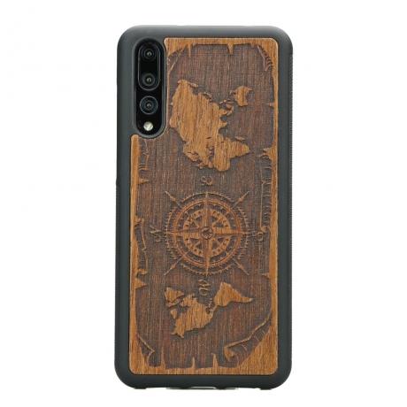 Drewniane Etui Huawei P20 Pro RÓŻA WIATRÓW MERBAU