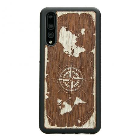 Drewniane Etui Huawei P20 Pro RÓŻA WIATRÓW MERBAU BIELONA