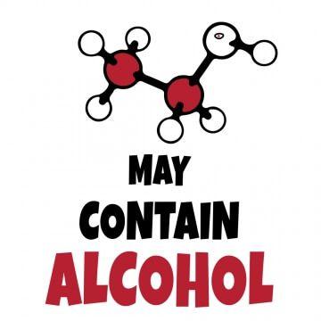 """Kubek z napisem """"może zawierać alkohol''"""